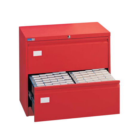 Двоен метален шкаф за висящи папки Silverline с 2 чекмеджета