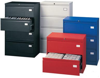 Двоен метален шкаф за висящи папки Silverline с 4 чекмеджета