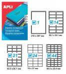 Самозалепващи етикети Apli Translucent 48.5x25.4мм,A4,20л.,44бр на лист