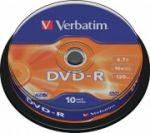 DVD-R Verbatim 4.7GB 16X, шпиндел 10бр.