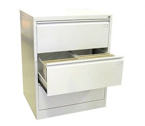 Двоен метален шкаф за висящи папки Malow File Locker с 3 чекмеджета