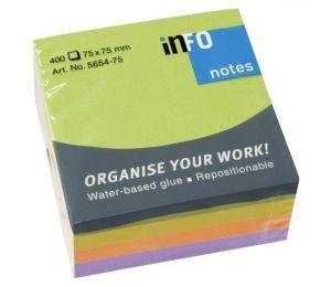 Самозалепващи листчета Info Notes Springmix Неон 75х75 mm 400 листа