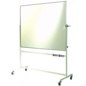Въртяща се магнитна бяла дъска с алуминиева рамка 90x120 см. на колела